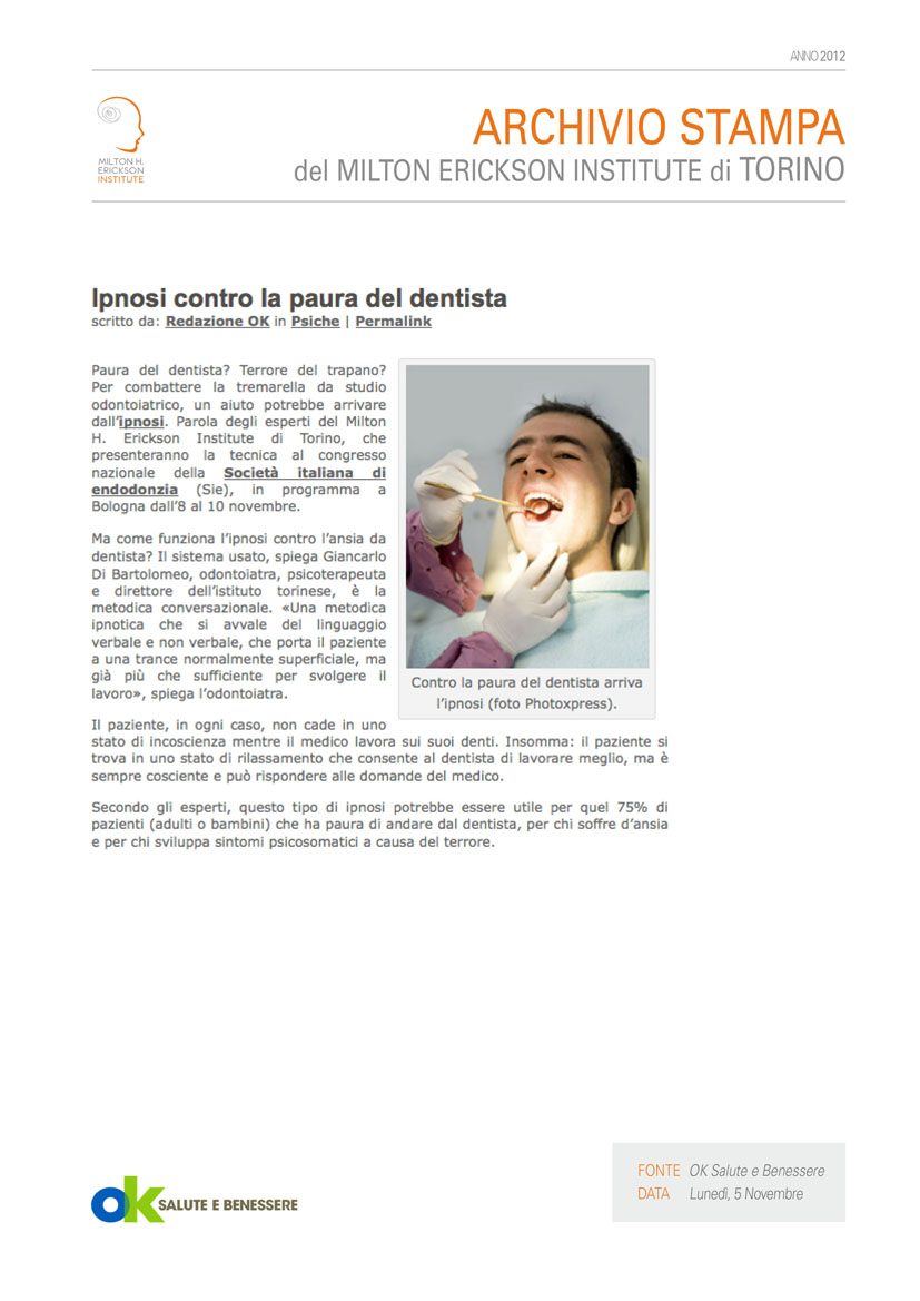 05 11 2012 Ok Salute E Benessere Salute Milton H Erickson Institute Di Torino