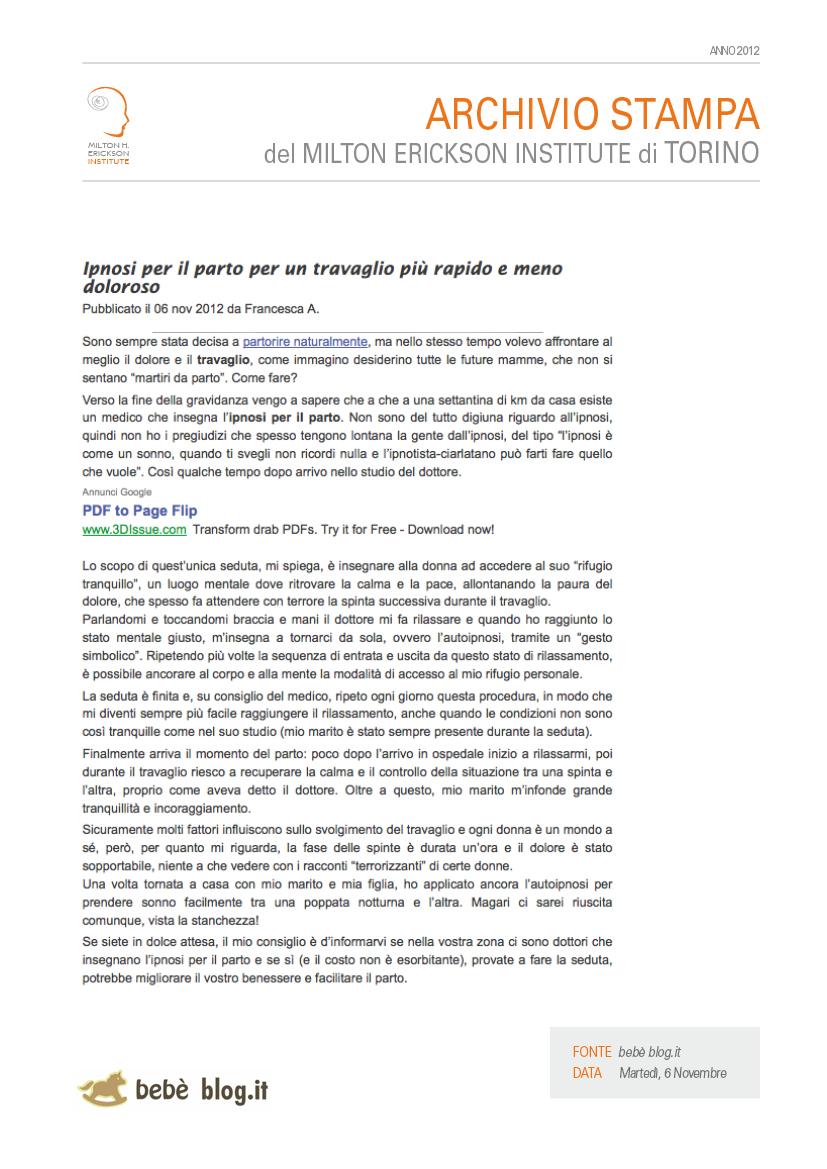 L Ipnosi Per Il Parto Per Un Travaglio Piu Rapido E Meno Doloroso Milton H Erickson Institute Di Torino